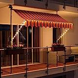 Swing & Harmonie LED - Markise mit Kurbel Klemmmarkise Balkonmarkise mit...